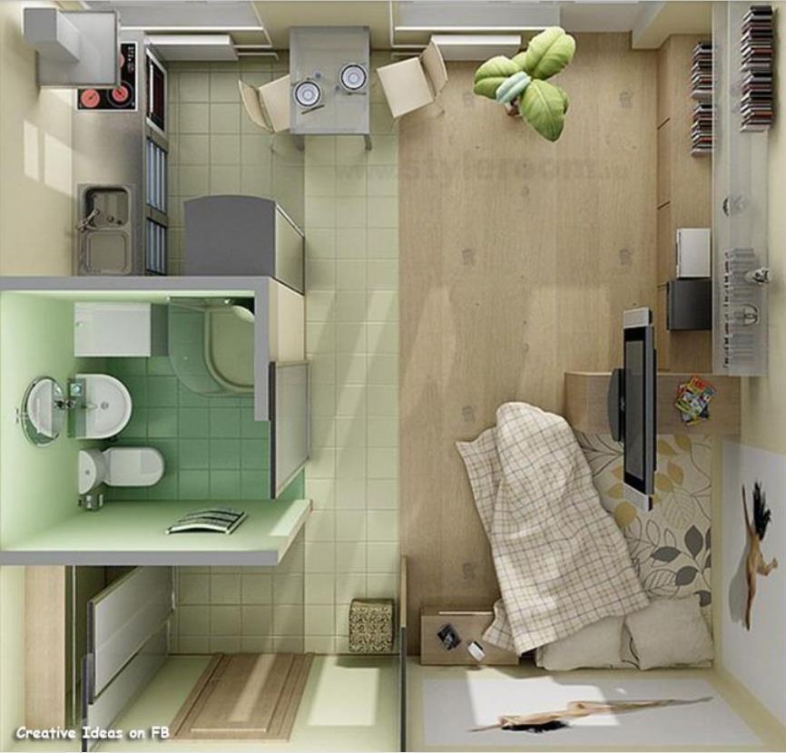 Plano de departamento monoambiente dise ado en 3d for Diseno de oficinas pequenas planos