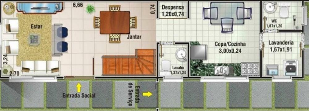 Plano de duplex de 5 metros de ancho