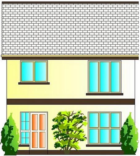 Fachada casa de 2 pisos