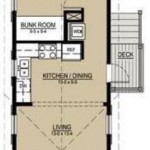 Plano de casa angosta y larga con 1 dormitorio