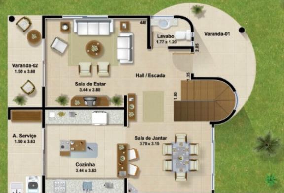 Plano de casa con terminaciones irregulares en dos pisos for Planos de casas de dos pisos con medidas