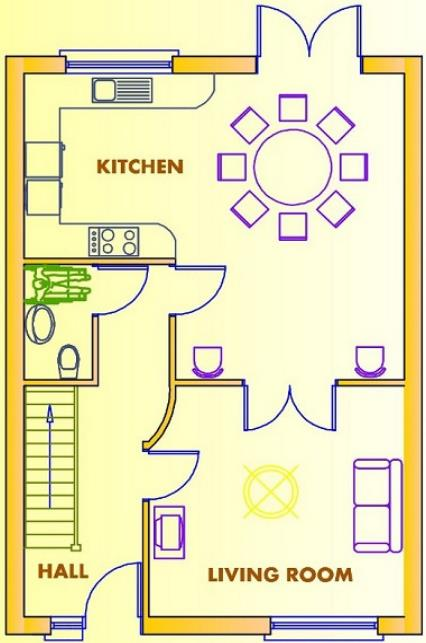 Plano de casa de 2 pisos, con 3 dormitorios y 110 metros cuadrados