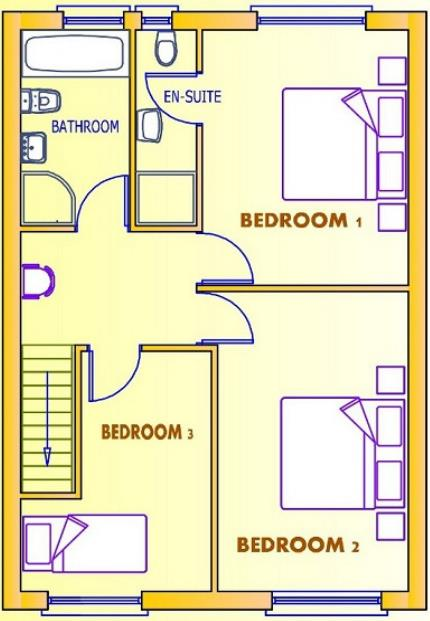 Plano de casa de 2 pisos, con 3 dormitorios