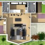 Plano de casa de 3 dormitorios, 2 baños y en 3D