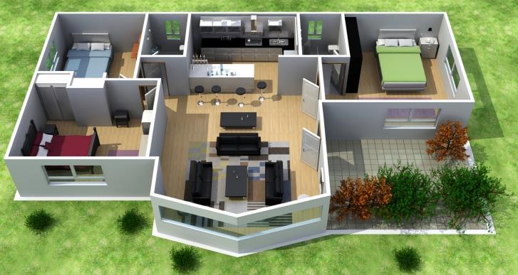 Plano de casa de 3 dormitorios en 3D