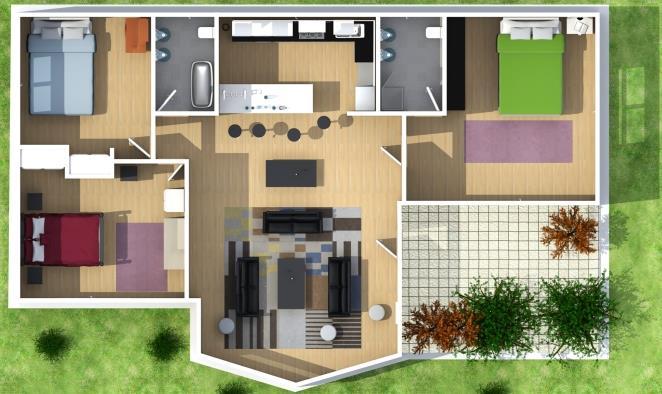 Plano de casa de 3 dormitorios 2 ba os y en 3d for Modelos de casas de 3 dormitorios