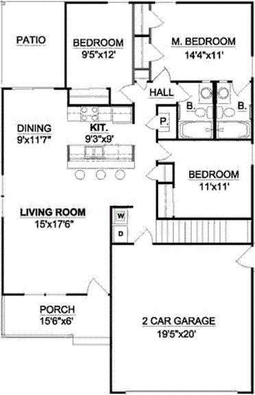 Plano de casa de 3 habitaciones y cochera doble
