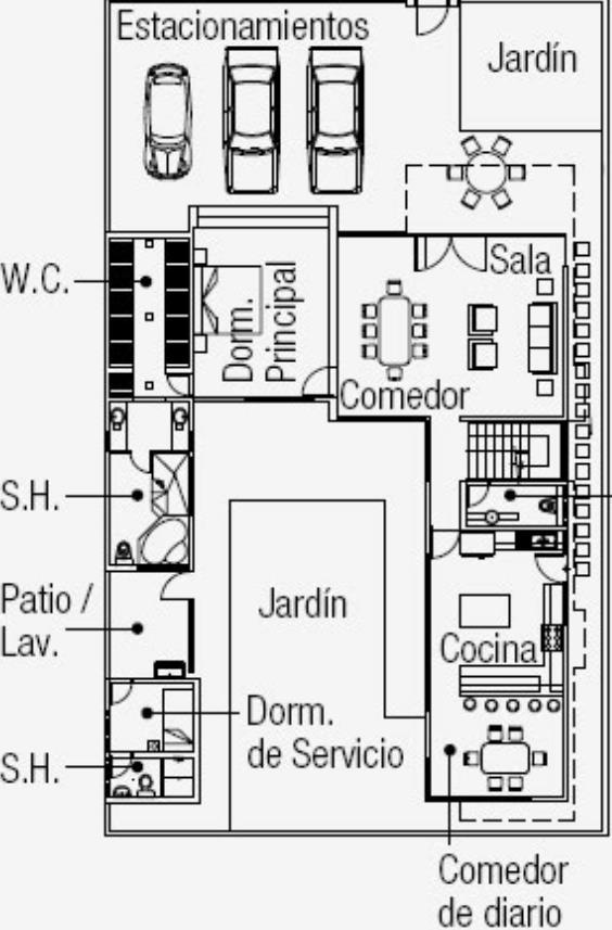 Plano de casa de 400m2 de garaje para 3 veh culos - Planos de casas rectangulares ...