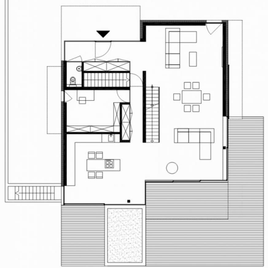 Plano de casa de diseño moderno y tres dormitorios