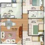 Plano de casa de tres dormitorios en 70 metros