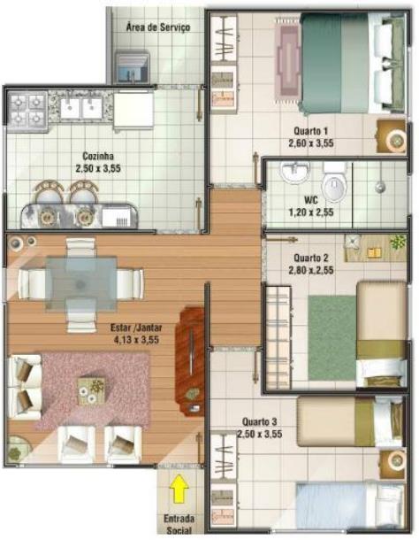 Plano casa de 7x8 con 1 cuarto y bano planos de casas for Casas de tres recamaras
