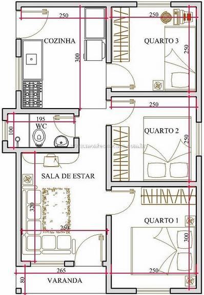 Plano de casa en 45 metros cuadrados y 3 dormitorios