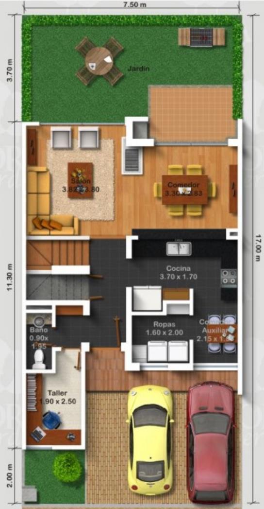 Plano de casa moderna con jard n delantero for Casa vivienda jardin pdf