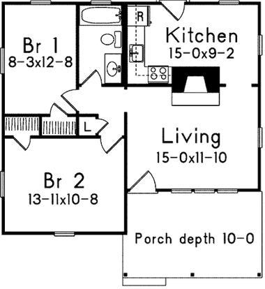 Plano de casa pequeña con 70 metros cuadrados y dos habitaciones