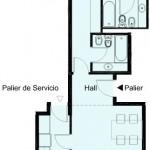 Plano de departamento de 2 dormitorios y 77 metros cuadrados