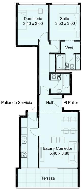 Plano de departamento de 2 dormitorios y 77 metros cuadrados for Dormitorio 10 metros cuadrados