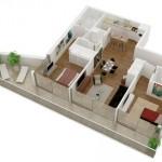Plano de departamento de 2 habitaciones en 3D