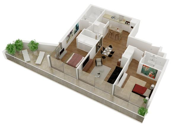 Plano de departamento de 2 habitaciones en 3d for Habitaciones 3d gratis