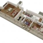 Plano de departamento de 3 dormitorios y 150 metros cuadrados