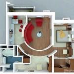 Plano de departamento de diseño moderno de una habitación