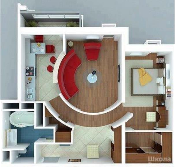 Plano de departamento de diseño moderno