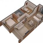 Plano de departamento en 3D de 2 dormitorios