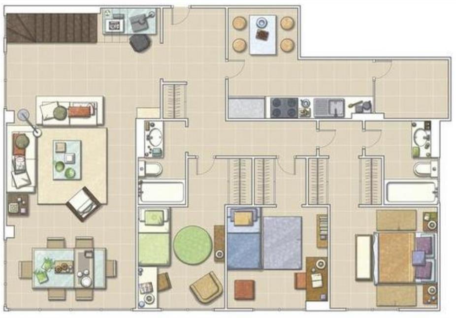 Plano de departamento moderno y amplio