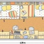 Plano de dormitorio para niños