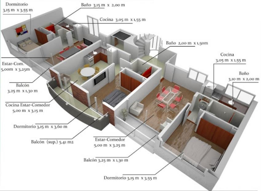 Plano en 3D de departamentos
