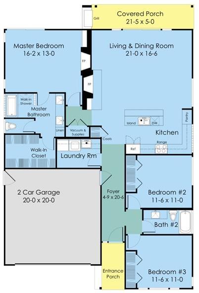 plano de casa moderna de tres dormitorios y dos baños