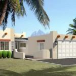 Plano de casa moderna de una planta y 3 habitaciones