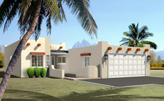 Fachada de casa moderna de una planta y 3 habitaciones
