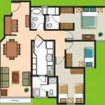 Plano de 3 habitaciones para casa o departamento