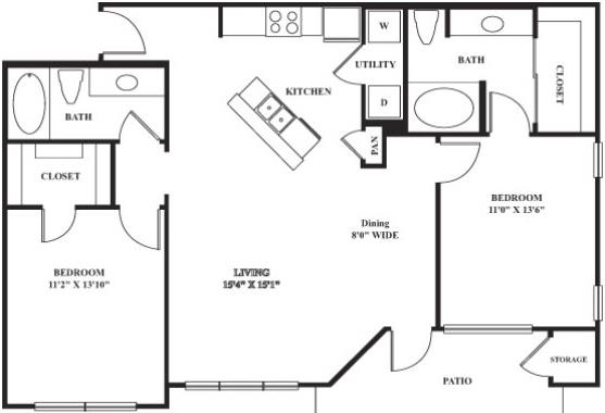 Plano de casa con diseño de dos dormitorios