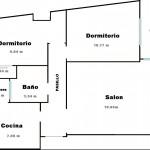 Plano de casa de 2 dormitorios y 57 m2