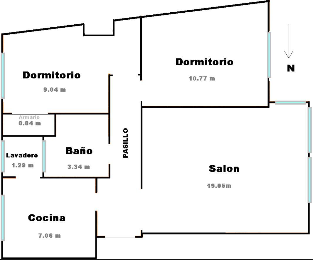 de casa de 2 dormitorios y 57 m2