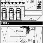 Plano de casa de 2 pisos y 4 dormitorios