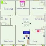 Plano de casa de dos dormitorios y cuarto auxiliar