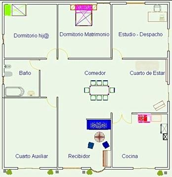 Plano casa de 7x8 con 1 cuarto y bano Planos de dos dormitorios