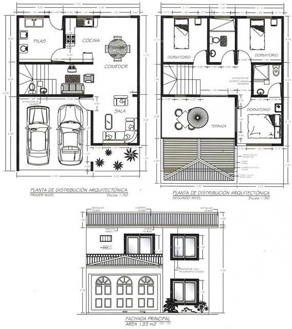 Plano de casa de dos plantas y tres dormitorios con fachada