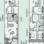 Plano de casa de fachada angosta en 2 pisos