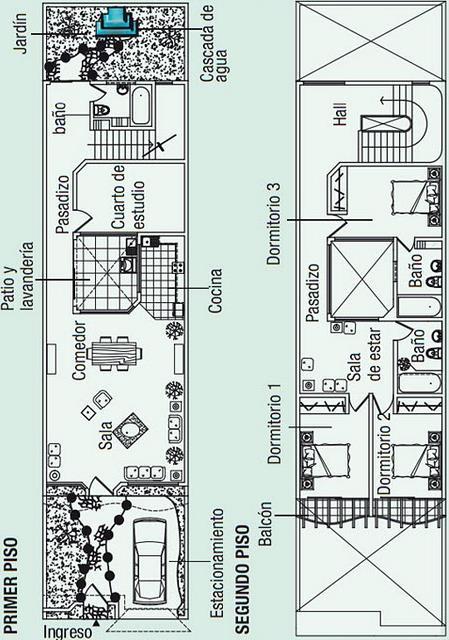 Plano de casa de fachada angosta