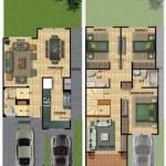 Plano de casa moderna con garage doble y 3 dormitorios