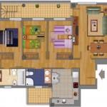 Plano de casa moderna de 3 dormitorios con terraza
