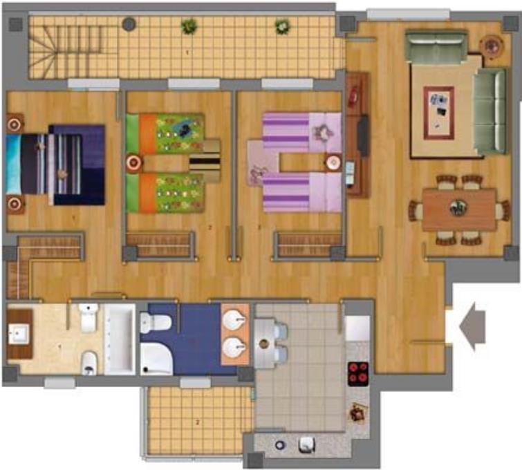 Plano de casa moderna de 3 dormitorios con terraza for Disenos de casas 10x20
