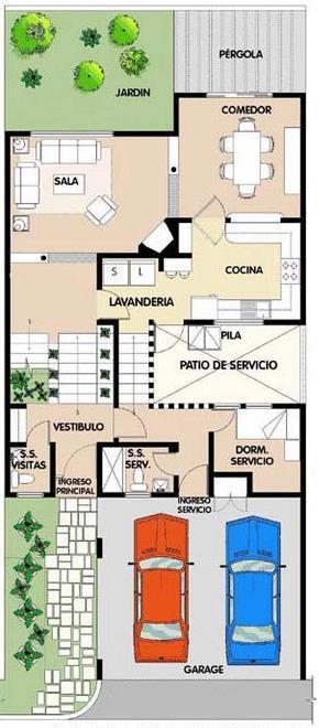 Plano de casa moderna en dos plantas y con tres dormitorios