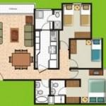 Plano de casa pequeña de 3 dormitorios bien distribuidos