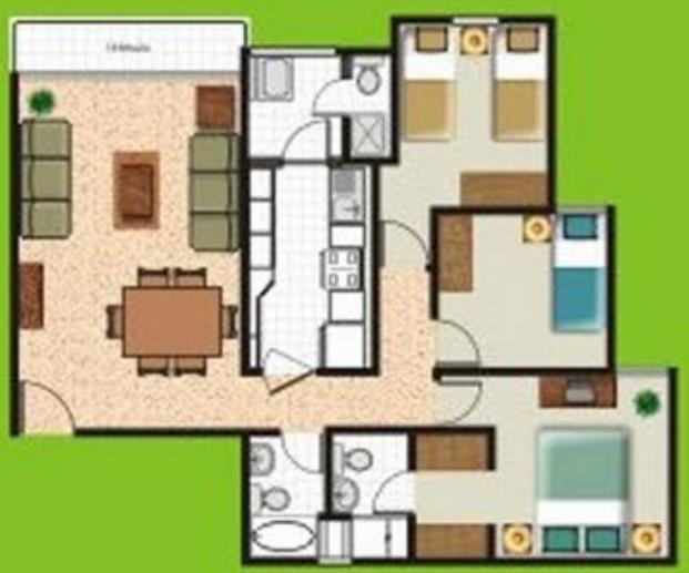 Plano De Casa Peque A De 3 Dormitorios Bien Distribuidos