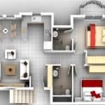 Plano de departamento moderno de 2 dormitorios y 3 balcones