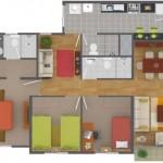 Plano de departamento moderno de 3 dormitorios y 90 m2